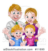 Vector Illustration of a Cartoon Caucasian Brother and Sister Waving with Their Mom and Dad by AtStockIllustration