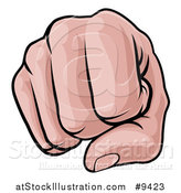 Vector Illustration of a Cartoon Caucasian Fist Punching by AtStockIllustration