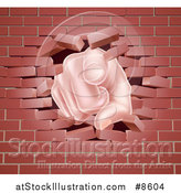 Vector Illustration of a Cartoon Caucasian Hand Pointing Outwards, Breaking Through a Brick Wall by AtStockIllustration