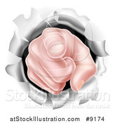 Vector Illustration of a Cartoon Caucasian Hand Pointing Outwards, Breaking Through a Wall by AtStockIllustration
