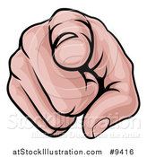 Vector Illustration of a Cartoon Caucasian Hand Pointing Outwards by AtStockIllustration