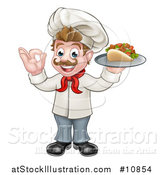 Vector Illustration of a Cartoon Caucasian Male Chef Holding a Kebab Sandwich on a Tray and Gesturing Okay by AtStockIllustration