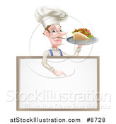 Vector Illustration of a Cartoon Caucasian Male Chef with a Curling Mustache, Holding a Kebab Sandwich on a Tray and Pointing down at a Blank Menu Sign by AtStockIllustration