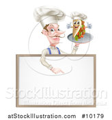 Vector Illustration of a Cartoon Caucasian Male Chef with a Curling Mustache, Holding a Kebab Sandwich on a Tray, Pointing down over a Blank Menu Sign by AtStockIllustration