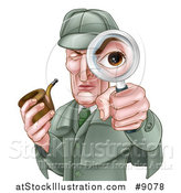 Vector Illustration of a Cartoon Caucasian Male Detective, like Sherlock Homes, Looking Through a Magnifying Glass and Holding a Pipe by AtStockIllustration