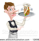Vector Illustration of a Cartoon Caucasian Male Waiter Pointing and Holding a Kebab Sandwich on a Tray by AtStockIllustration