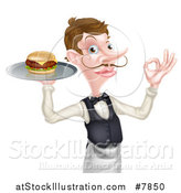 Vector Illustration of a Cartoon Caucasian Male Waiter with a Curling Mustache, Holding a Cheeseburger on a Platter and Gesturing Ok by AtStockIllustration