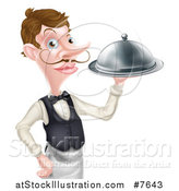 Vector Illustration of a Cartoon Caucasian Male Waiter with a Curling Mustache, Holding a Cloche Platter by AtStockIllustration