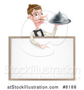 Vector Illustration of a Cartoon Caucasian Male Waiter with a Curling Mustache, Holding a Cloche Platter over a Blank White Menu Sign by AtStockIllustration