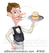 Vector Illustration of a Cartoon Caucasian Male Waiter with a Curling Mustache, Holding a Cupcake on a Tray by AtStockIllustration