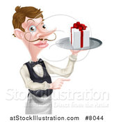 Vector Illustration of a Cartoon Caucasian Male Waiter with a Curling Mustache, Holding a Gift on a Platter and Pointing by AtStockIllustration