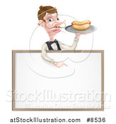 Vector Illustration of a Cartoon Caucasian Male Waiter with a Curling Mustache, Holding a Hot Dog on a Tray and Pointing down over a Blank White Menu Sign Board by AtStockIllustration