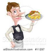 Vector Illustration of a Cartoon Caucasian Male Waiter with a Curling Mustache, Holding a Kebab Sandwich and Fries on a Tray by AtStockIllustration