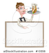 Vector Illustration of a Cartoon Caucasian Male Waiter with a Curling Mustache, Holding a Kebab Sandwich Character on a Tray, Pointing down over a Blank Sign by AtStockIllustration