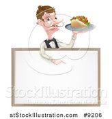 Vector Illustration of a Cartoon Caucasian Male Waiter with a Curling Mustache, Holding a Kebab Sandwich on a Tray, Pointing down over a Blank Sign by AtStockIllustration