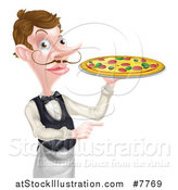 Vector Illustration of a Cartoon Caucasian Male Waiter with a Curling Mustache, Holding a Pizza on a Tray and Pointing by AtStockIllustration