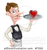 Vector Illustration of a Cartoon Caucasian Male Waiter with a Curling Mustache, Holding a Red Love Heart on a Tray by AtStockIllustration