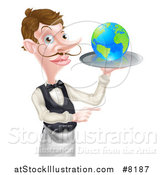 Vector Illustration of a Cartoon Caucasian Male Waiter with a Curling Mustache, Holding Earth on a Tray and Pointing by AtStockIllustration