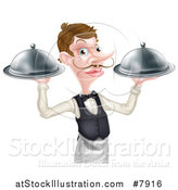 Vector Illustration of a Cartoon Caucasian Male Waiter with a Curling Mustache, Holding Two Cloche Platters by AtStockIllustration