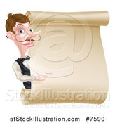 Vector Illustration of a Cartoon Caucasian Male Waiter with a Curling Mustache, Pointing Around a Blank Scroll Sign by AtStockIllustration