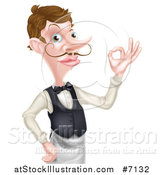 Vector Illustration of a Cartoon Caucasian Male Water with a Curling Mustache, Gesturing Ok, from the Waist up by AtStockIllustration