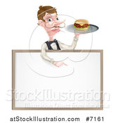 Vector Illustration of a Cartoon Caucasian Male Water with a Curling Mustache, Holding a Burger on a Tray and Pointing down over a White Sign by AtStockIllustration