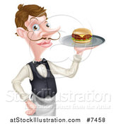 Vector Illustration of a Cartoon Caucasian Male Water with a Curling Mustache, Holding a Burger on a Tray by AtStockIllustration
