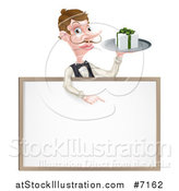 Vector Illustration of a Cartoon Caucasian Male Water with a Curling Mustache, Holding a Gift on a Tray and Pointing down over a White Sign by AtStockIllustration