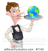 Vector Illustration of a Cartoon Caucasian Male Water with a Curling Mustache, Holding Earth on a Tray by AtStockIllustration