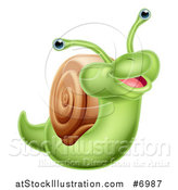 Vector Illustration of a Cartoon Cheerful Green Snail by AtStockIllustration