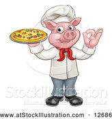 Vector Illustration of a Cartoon Chef Pig Mascot Hand Gesturing Perfect While Holding Fresh Pizza by AtStockIllustration