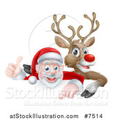 Vector Illustration of a Cartoon Christmas Red Nosed Reindeer and Santa Giving a Thumb up Above a Sign 2 by AtStockIllustration