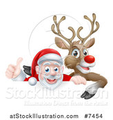 Vector Illustration of a Cartoon Christmas Red Nosed Reindeer and Santa Giving a Thumb up Above a Sign by AtStockIllustration