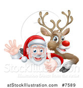 Vector Illustration of a Cartoon Christmas Red Nosed Reindeer and Santa Giving a Thumb up and Waving Above a Sign by AtStockIllustration