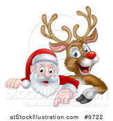 Vector Illustration of a Cartoon Christmas Red Nosed Reindeer and Santa Pointing down Above a Sign by AtStockIllustration