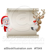 Vector Illustration of a Cartoon Christmas Rudolph the Red Nosed Reindeer and Santa Pointing Around a Blank Scroll Sign by AtStockIllustration