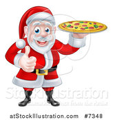 Vector Illustration of a Cartoon Christmas Santa Claus Giving a Thumb up and Holding a Pizza by AtStockIllustration