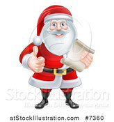 Vector Illustration of a Cartoon Christmas Santa Claus Giving a Thumb up and Holding a Scroll List by AtStockIllustration