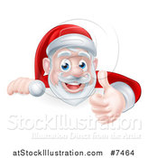 Vector Illustration of a Cartoon Christmas Santa Claus Giving a Thumb up over a Sign by AtStockIllustration