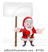 Vector Illustration of a Cartoon Christmas Santa Claus Pointing and Holding a Blank Sign by AtStockIllustration