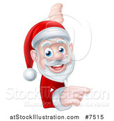 Vector Illustration of a Cartoon Christmas Santa Claus Pointing Around a Sign by AtStockIllustration