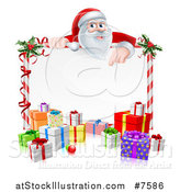 Vector Illustration of a Cartoon Christmas Santa Claus Pointing down over a Blank Sign with Gifts 2 by AtStockIllustration
