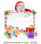 Vector Illustration of a Cartoon Christmas Santa Claus Pointing down over a Blank Sign with Gifts by AtStockIllustration