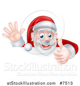 Vector Illustration of a Cartoon Christmas Santa Claus Waving and Giving a Thumb up over a Sign by AtStockIllustration