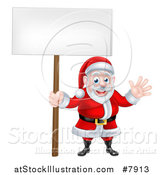 Vector Illustration of a Cartoon Christmas Santa Claus Waving and Holding a Blank Sign by AtStockIllustration