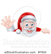 Vector Illustration of a Cartoon Christmas Santa Claus Waving over a Sign by AtStockIllustration