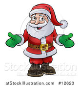 Vector Illustration of a Cartoon Christmas Santa Claus Wearing Green Mittens by AtStockIllustration