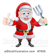 Vector Illustration of a Cartoon Christmas Santa Holding a Garden Fork and Giving a Thumb up 2 by AtStockIllustration
