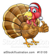 Vector Illustration of a Cartoon Christmas Turkey Bird Wearing a Santa Hat and Giving Two Thumbs up by AtStockIllustration