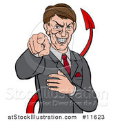 Vector Illustration of a Cartoon Corrupt White Devil Businessman Pointing Outwards, from the Waist up by AtStockIllustration